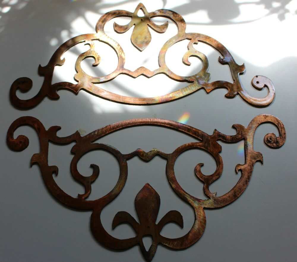 Metal wall art accent scroll corners set of ebay
