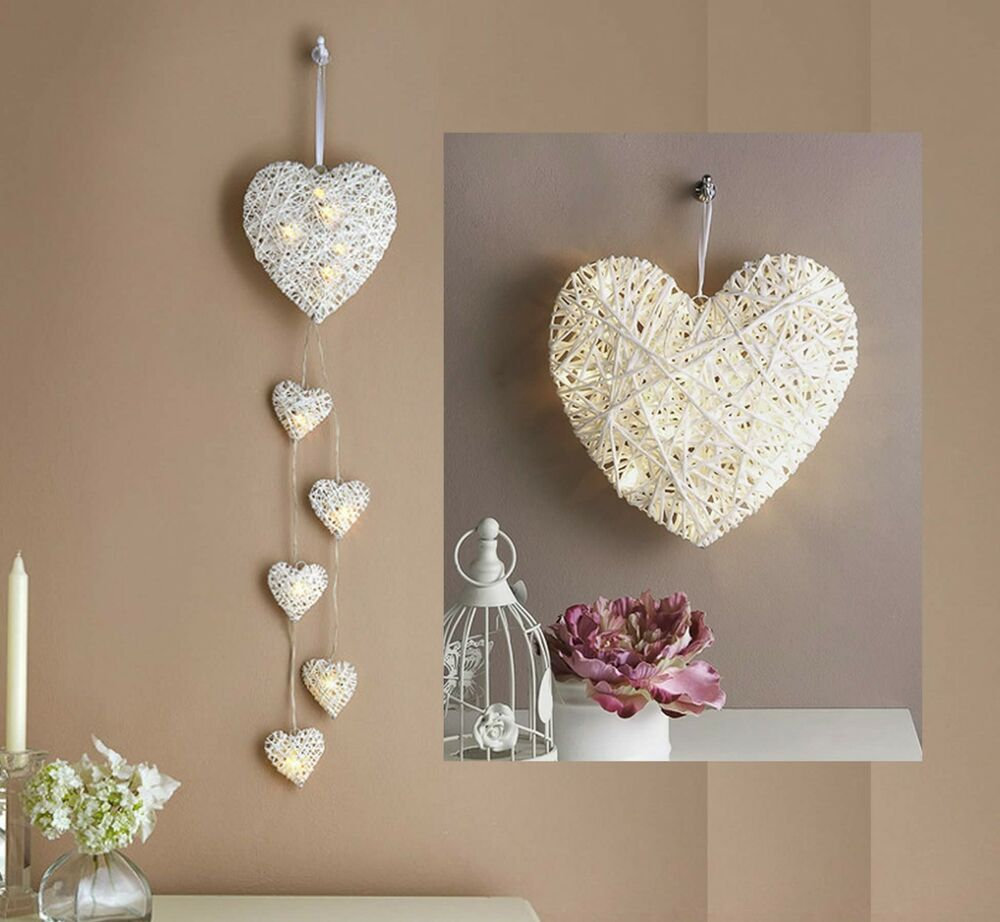 Large Heart Wall Decor : Led light up white hearts battery wall feature large