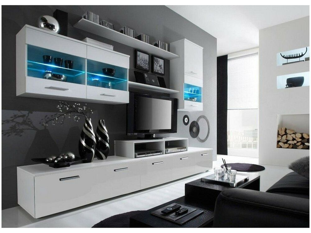 paris 5 tv unit white gloss tv units modern wall units tv cabinets tv stands ebay. Black Bedroom Furniture Sets. Home Design Ideas