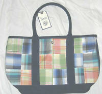 Patchwork w/Dark Blue Green Canvas Large Bag NWT Quilt look Purse Tote Quilt