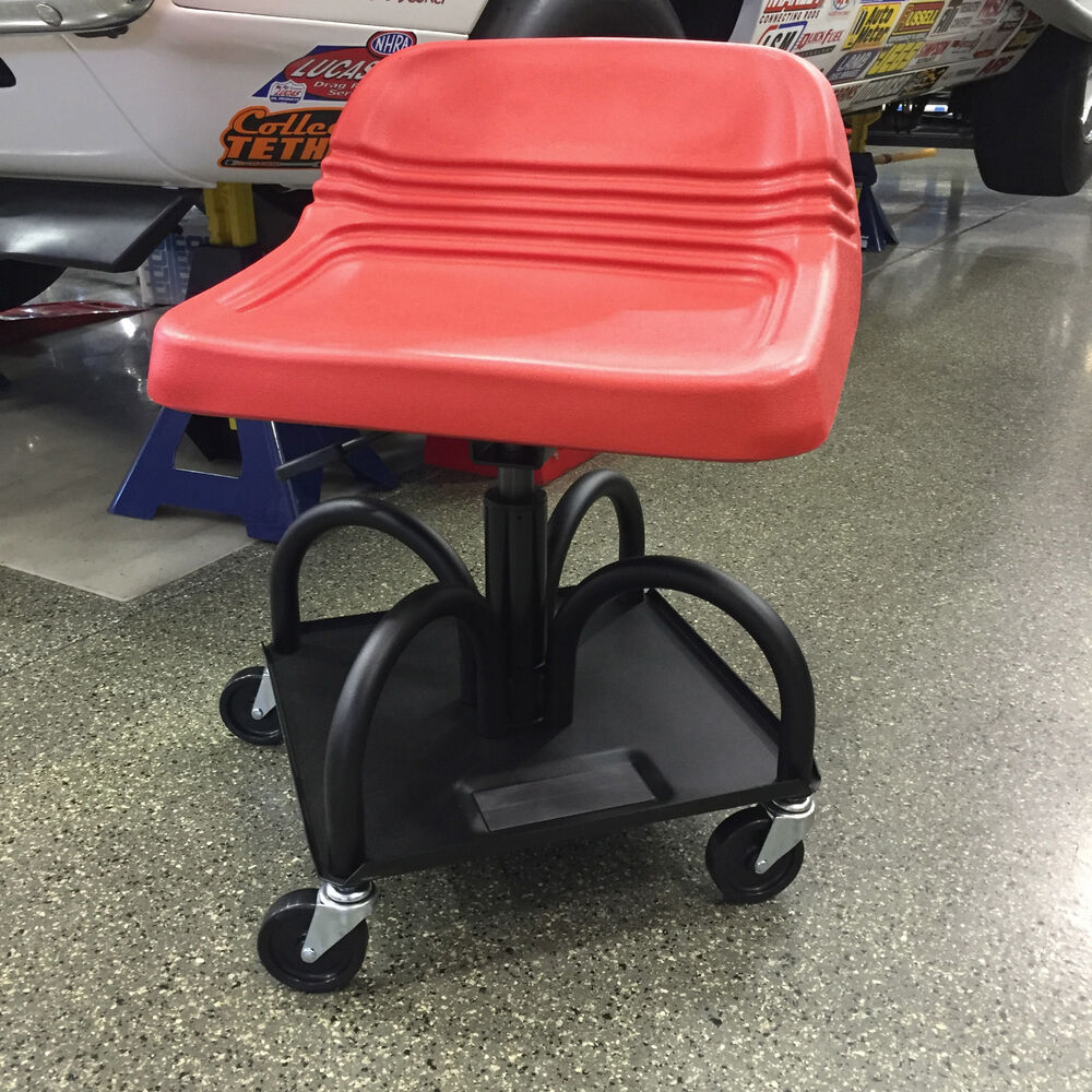 Adjustable garage creeper seat w magnetic tool tray red for Garage seat lens