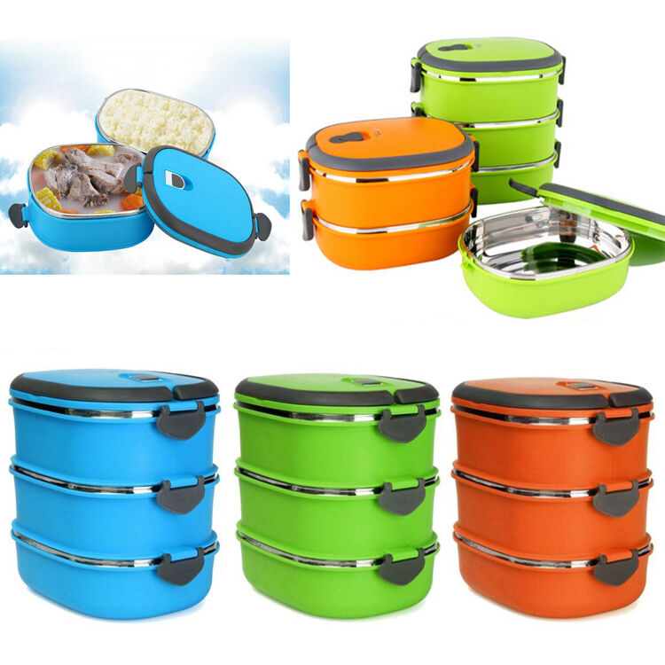 portable thermal insulated bento stainless steel picnic food container lunch box ebay. Black Bedroom Furniture Sets. Home Design Ideas