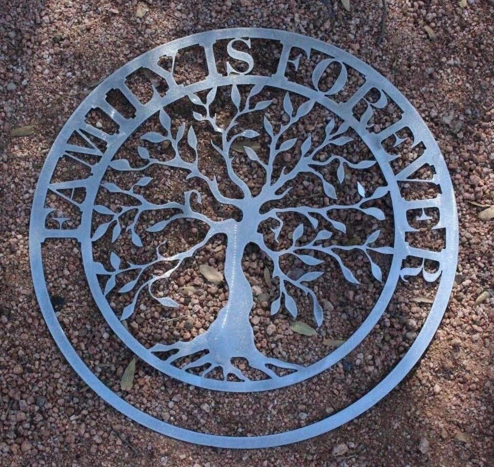 "Art Décor: Family Is Forever Olive Tree Metal Wall Art 20"" SILVER"