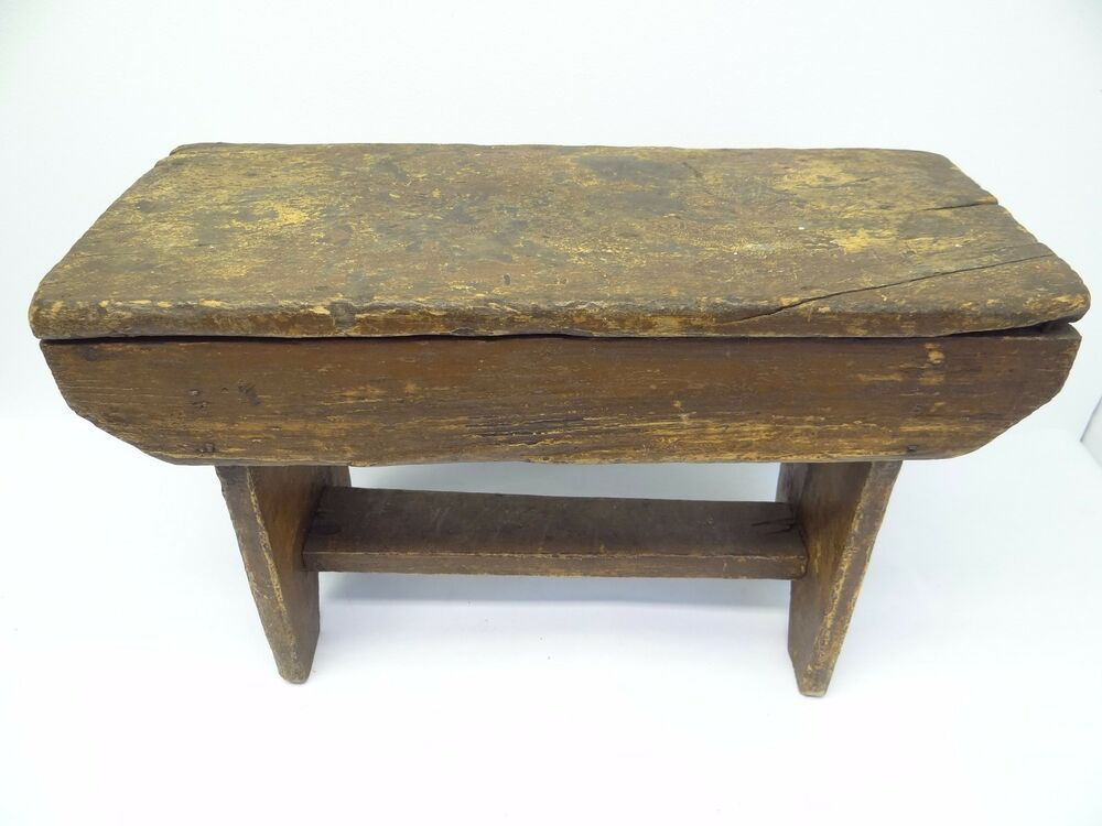 Antique Old Wood Wooden Primitive Stained Brown Footstool ...