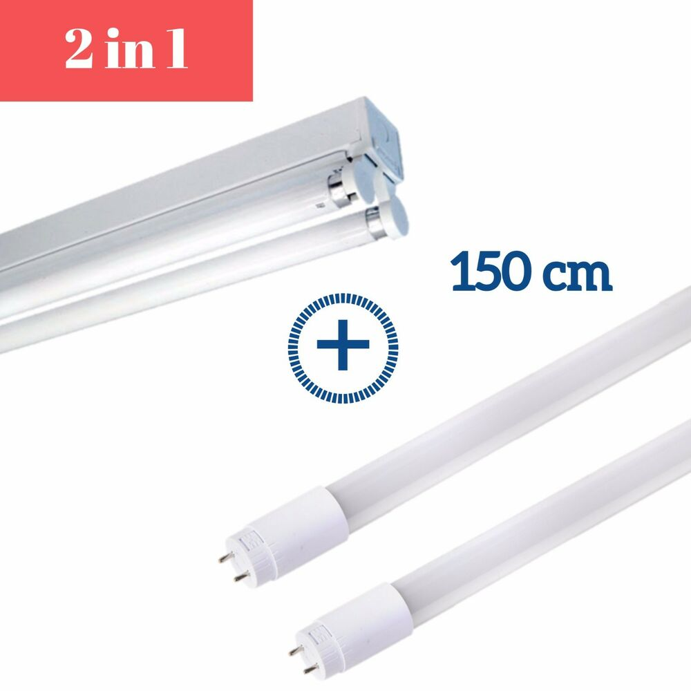 5ft Double Led T8 Fluorescent Light Fitting With Cool White 6000k