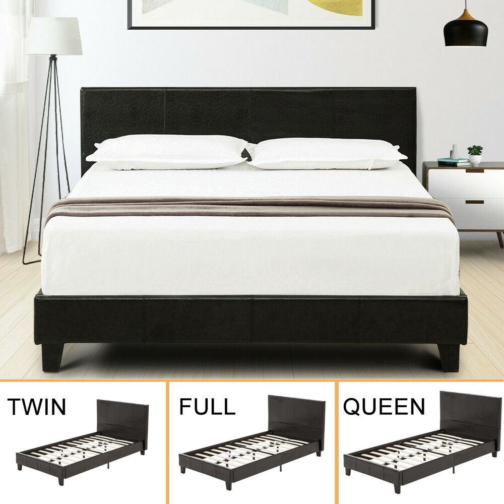 twin full queen faux leather platform bed frame slats upholstered headboard - Queen Bed And Frame