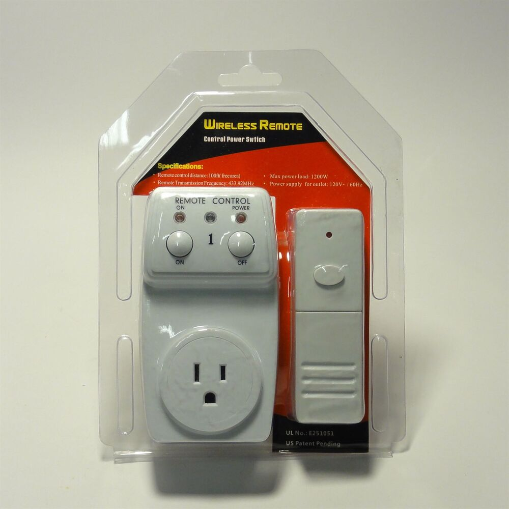wireless remote control outlet 1 pack ac power light. Black Bedroom Furniture Sets. Home Design Ideas