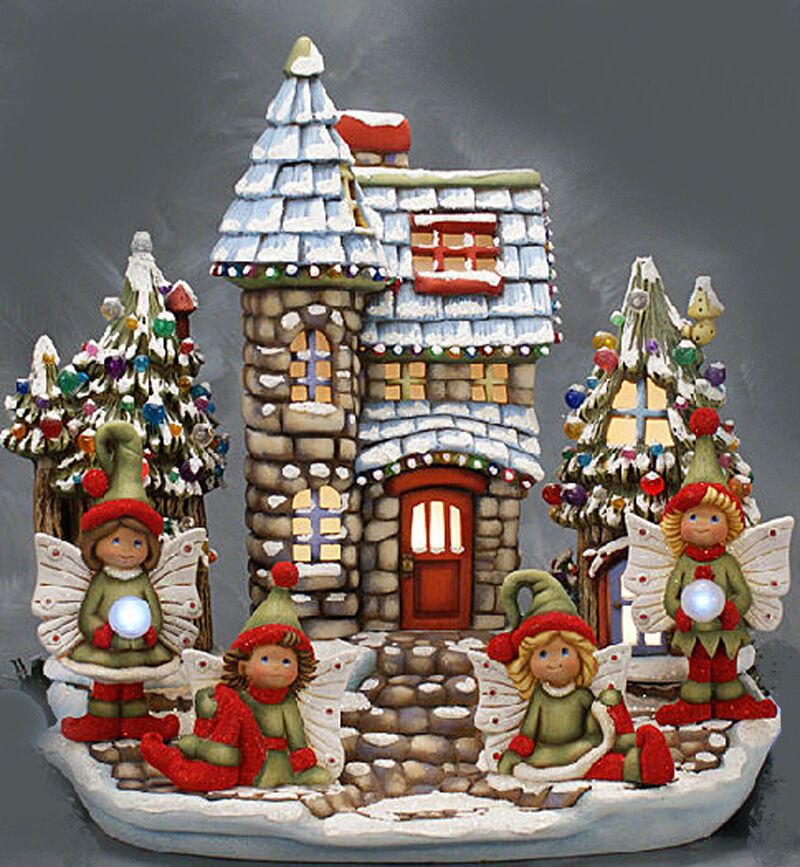 Ceramic bisque ready to paint winter fairy land pin for Ceramic house paint