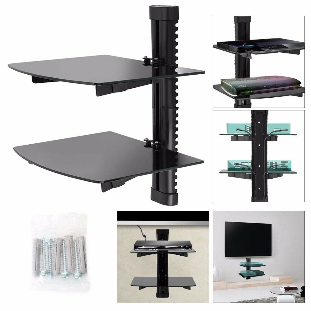 2 tiers glass tv lcd led wall mount bracket shelf for dvd. Black Bedroom Furniture Sets. Home Design Ideas