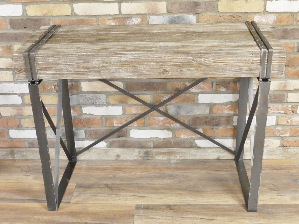INDUSTRIAL RECLAIMED RETRO VINTAGE WOOD METAL IRON CONSOLE