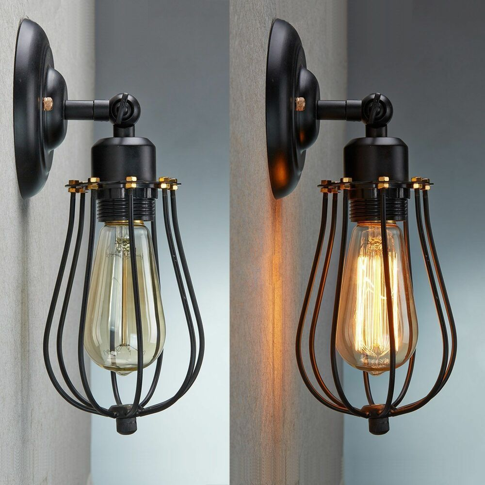 Antique Wall Sconce Lighting Fixtures : VINTAGE INDUSTRIAL LOFT RUSTIC CAGE SCONCE WALL LIGHT WALL LAMP FIXTURE eBay