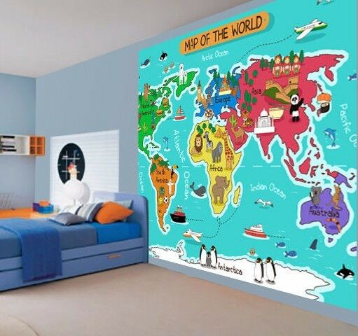 Children 39 s colour map of the world educational wallpaper for Educational mural