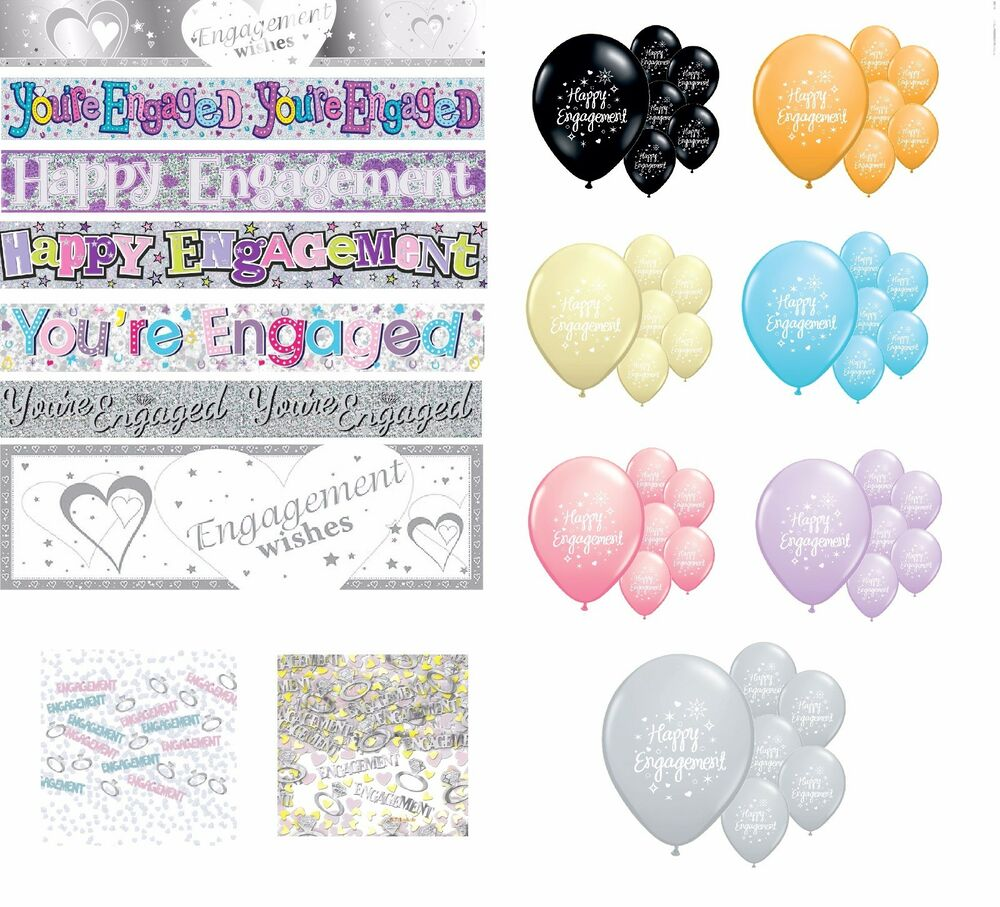 Engagement party decorations balloons banners confetti for Balloon decoration for engagement party