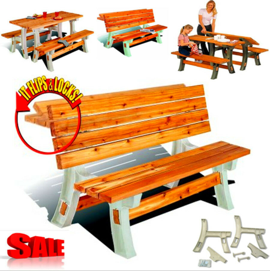 Folding Picnic Table Bench Patio Outdoor Convertible Flip Top Yard Furniture Set Ebay