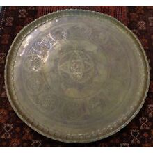 Antique Hand Hammered Copper Tray w Ornate Engraved Arabic Figures & Calligraphy