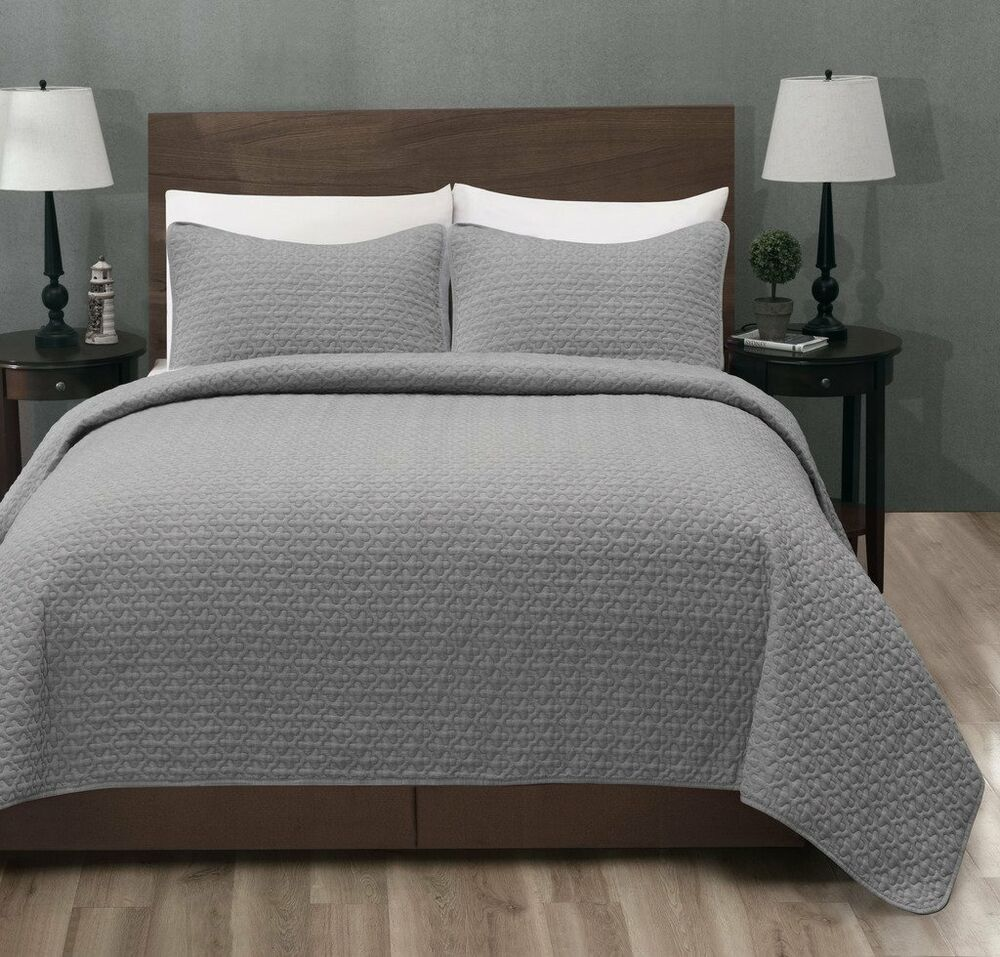 100 Polyester Micro Cotton 3pc Lt Grey Bed Quilt Coverlet