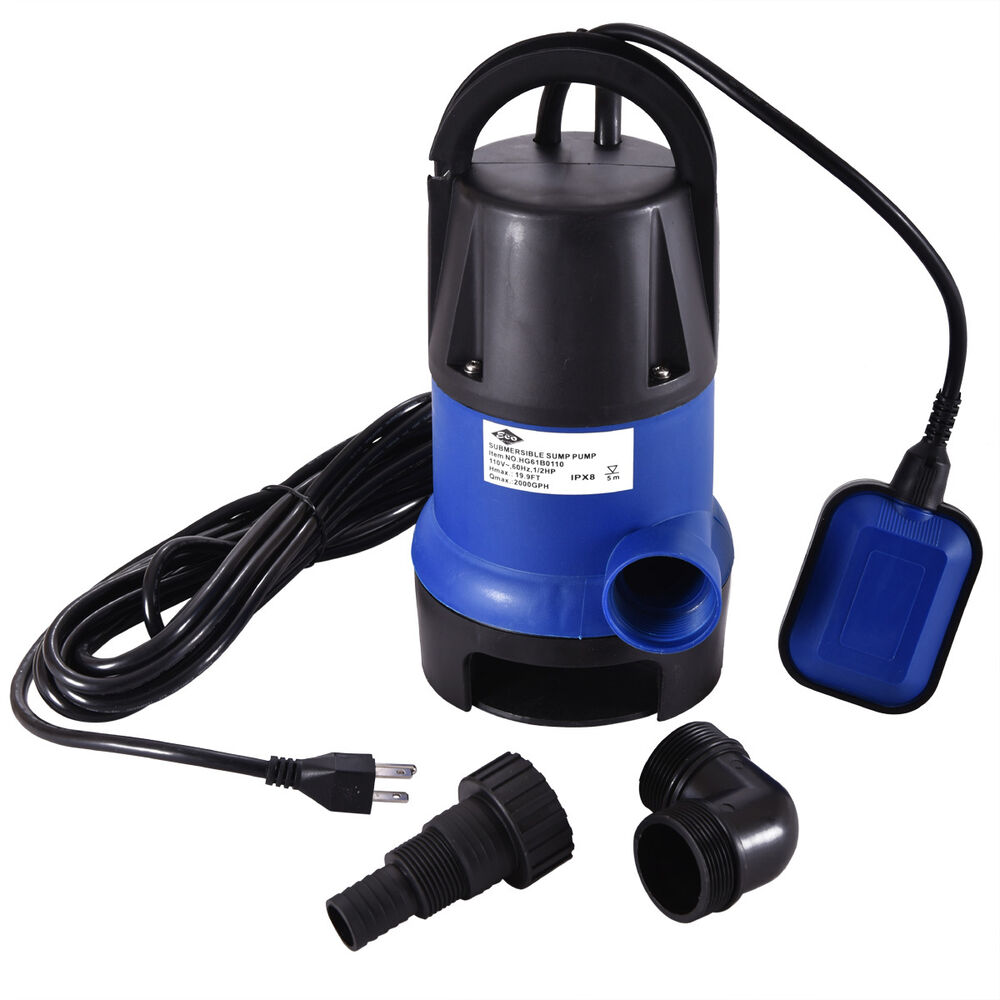 Submersible water pump 1 2 hp 2000gph clean clear dirty for Submersible pond pumps