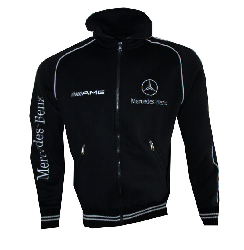 mercedes benz black men 39 s fleece jacket embroidered logo