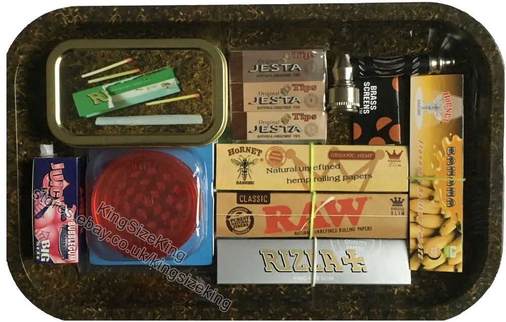 Raw Rolling Papers Gift Set Metal Tray Filter Tips Grinder