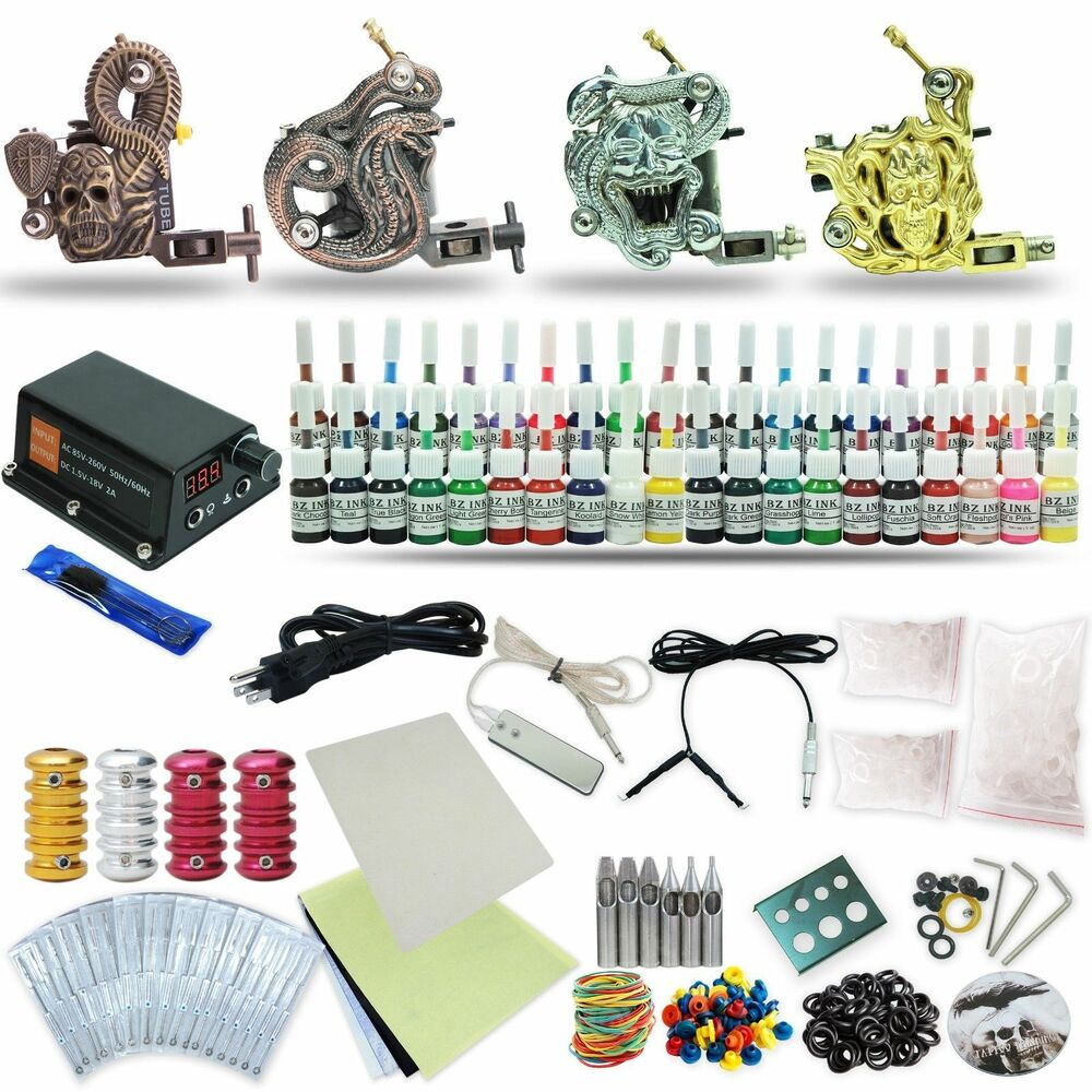 Complete tattoo kit 4 machine set equipment power supply for Tattoo supplies ebay