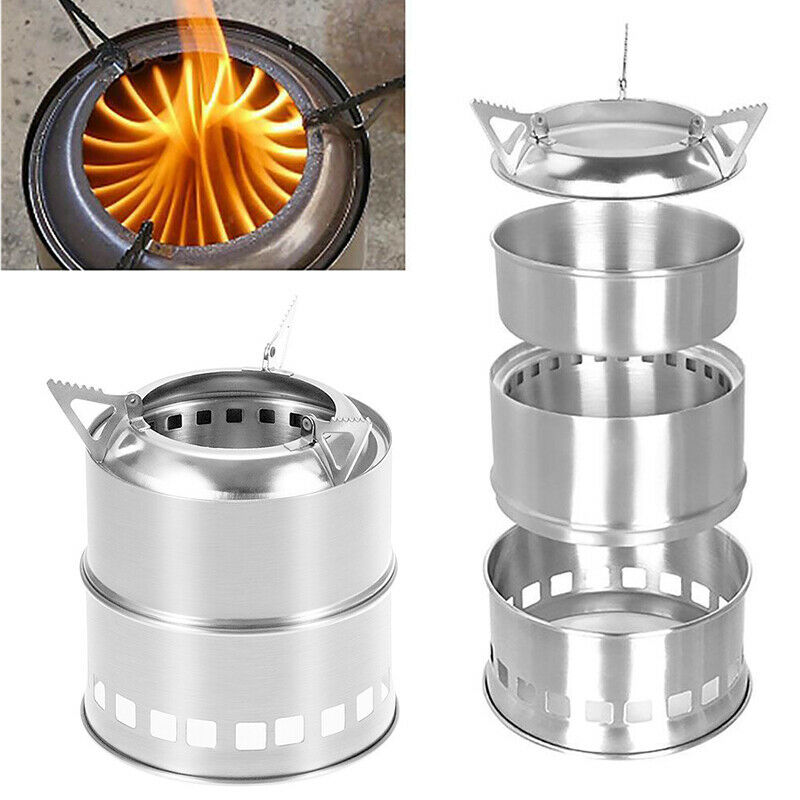 Camping Outdoor Portable Folding Wood Stove Burning Survival Cooking Picnic N7
