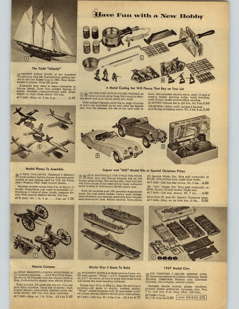 1957 PAPER AD Train HO Scale Diesel Freight Plane Piper Cub