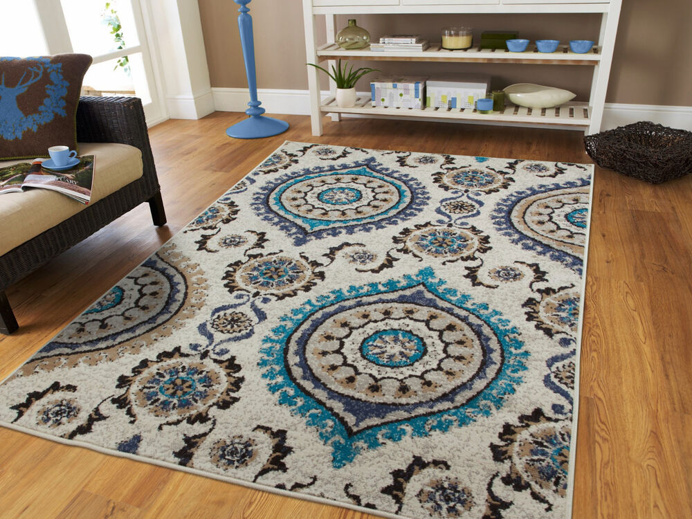 luxury blue gray rug living room rugs carpets 8x10 blue rug set 5x7 runner rug 2 ebay. Black Bedroom Furniture Sets. Home Design Ideas