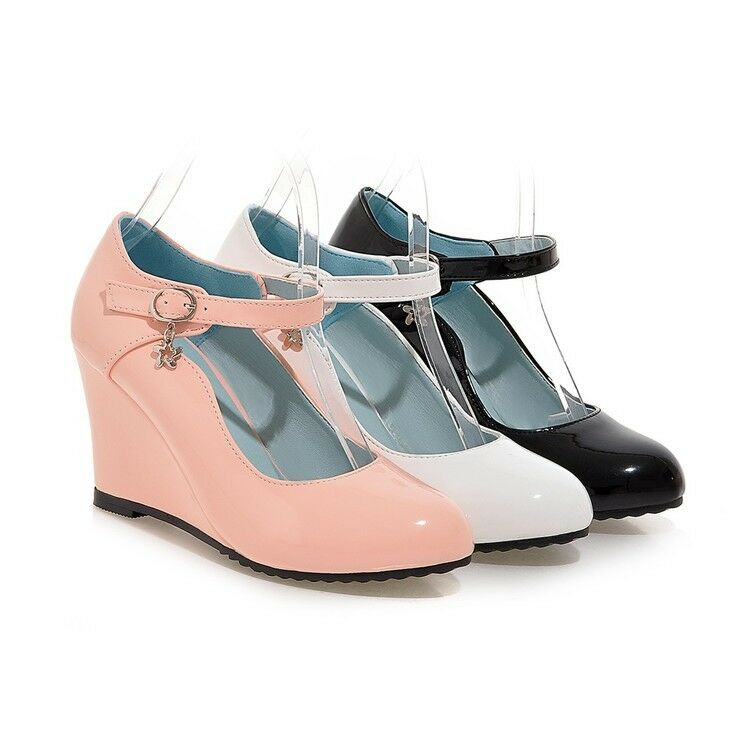 women black white pink wedge heels pu leather ankle pumps ...