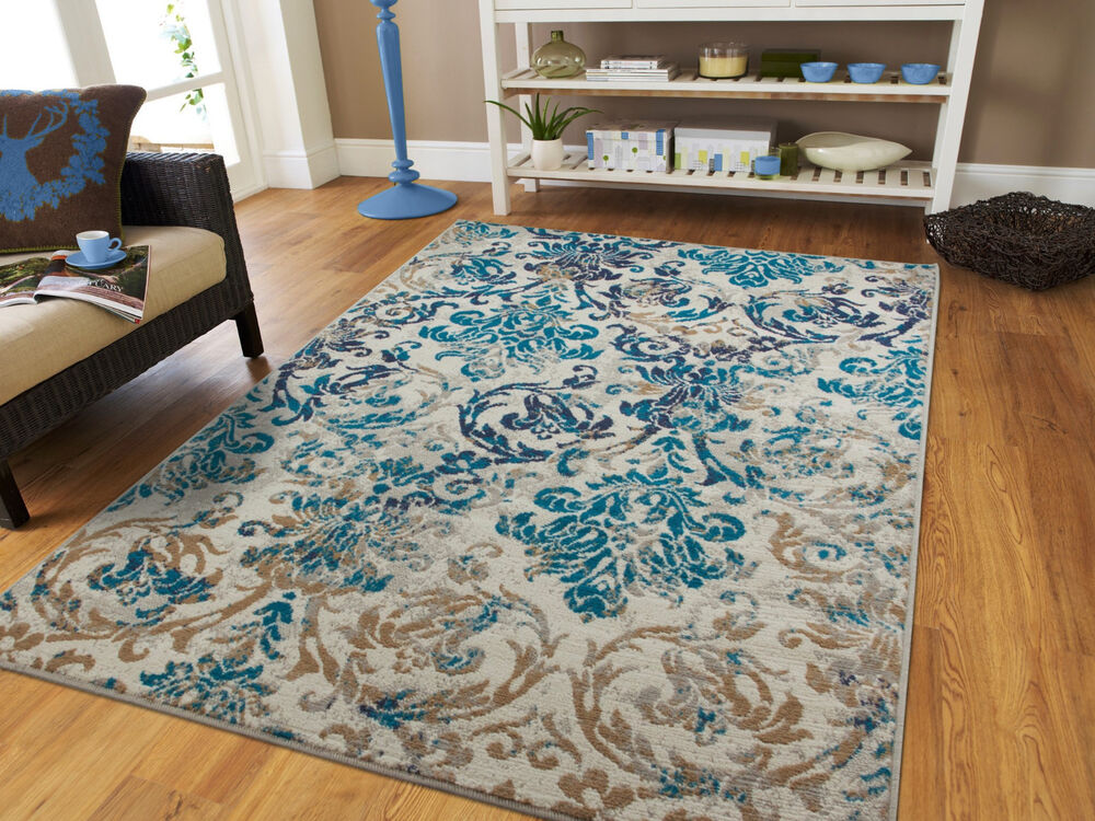 Modern rugs blue gray area rug 8x10 living room carpet 5x8 - Living room area rugs contemporary ...