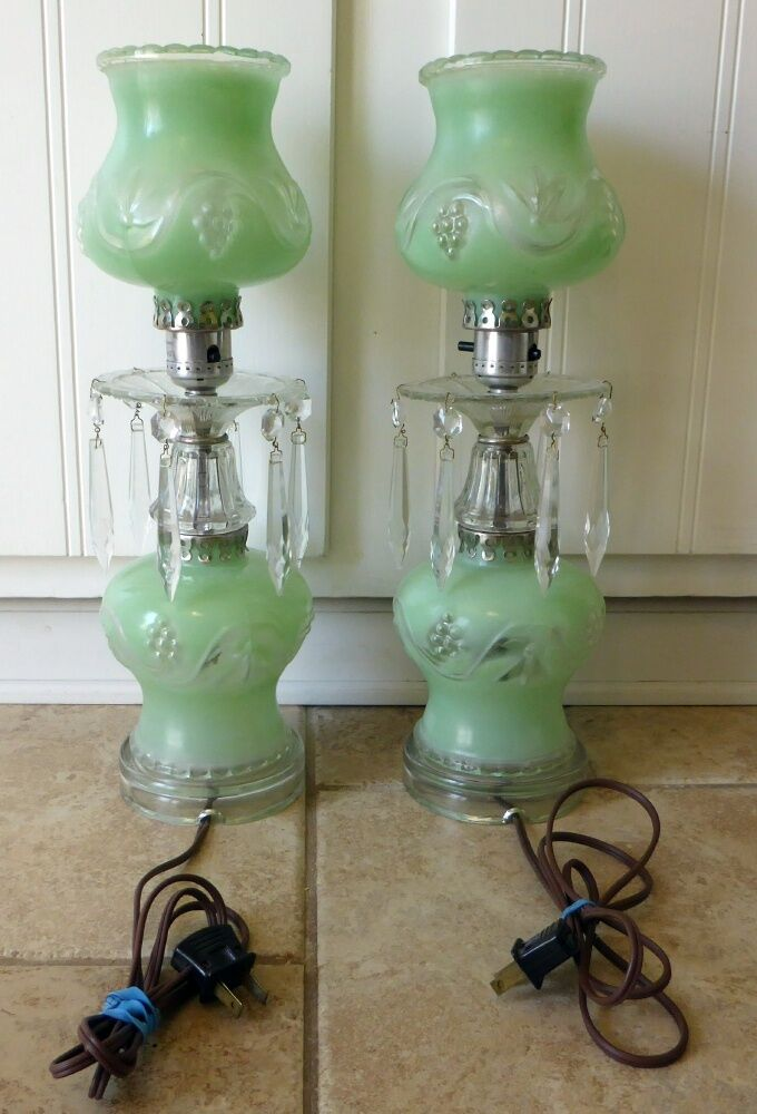 Pair Vintage Crystal Table Lamps With Cut Hanging Prisms