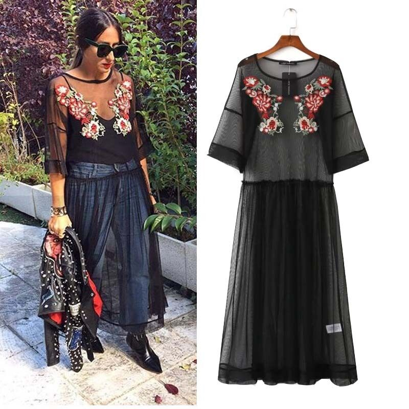 Women Black Mesh Floral Embroidered Sheer Maxi Dress TULLE Lace Long DRESS | EBay