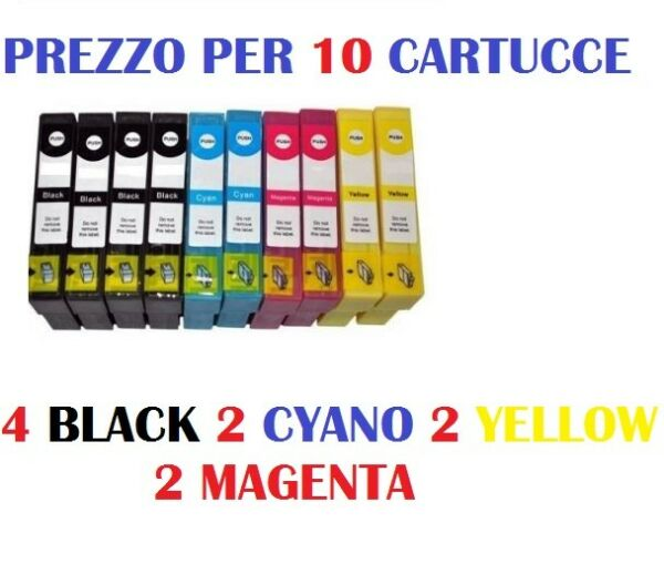 10 CARTUCCE PER EPSON  WorKorce WF-2760 WF-2750 WF-2660 CARTUCCIA COMPATIBILE