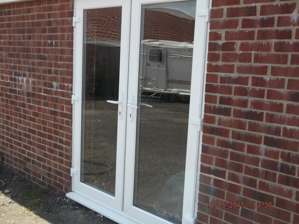 French doors upvc double handle ready to fit made to your for Ready made upvc doors