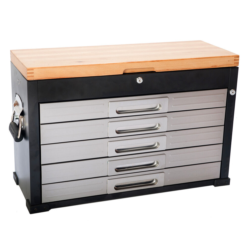 Seville HD 5 Drawer Heavy Duty Timber Top Tool Box Garage