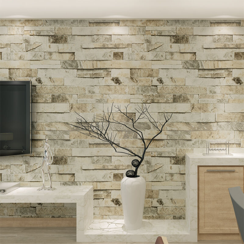 10m slate stone brick patterned 3d effect vinyl wallpaper for Papier peint effet peinture