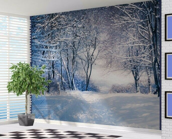 Beautiful winter forest scene snow trees wallpaper wall for Winter wall murals
