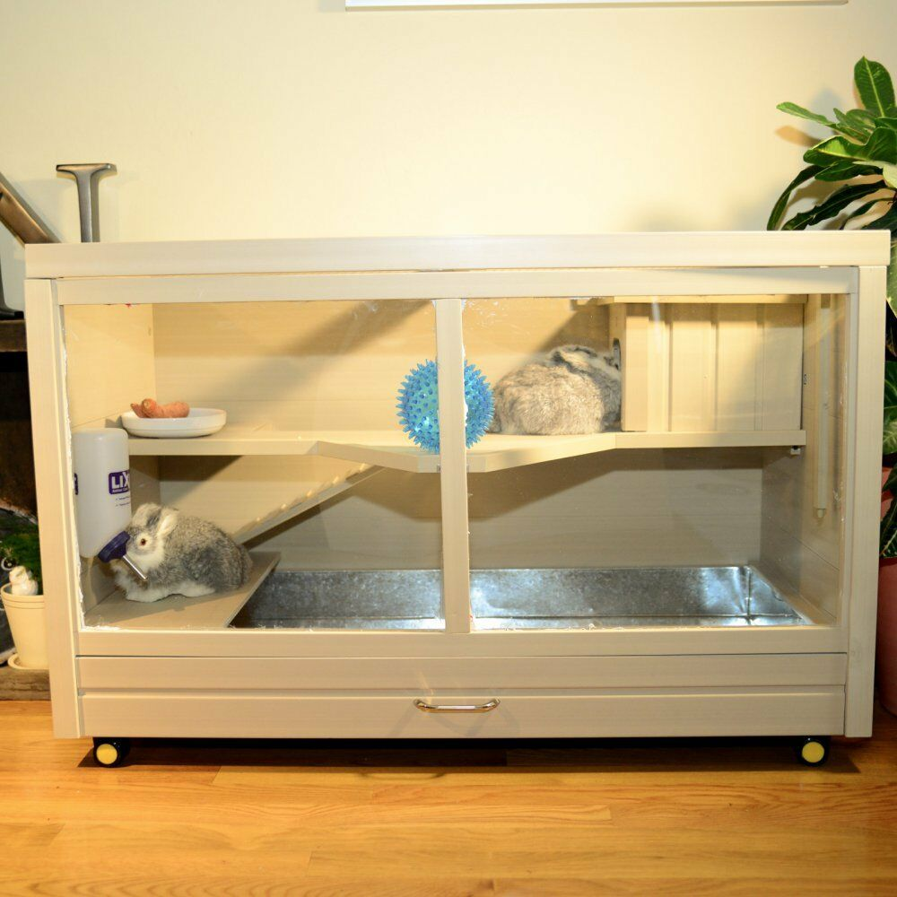 Diy Rabbit Shelter : Rabbit hutch indoor small animal cage house habitat mouse