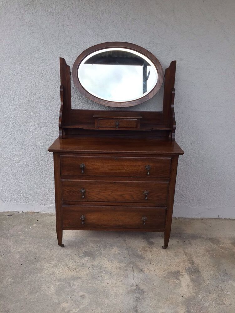 Antique vintage old wooden chest of drawers dressing table for Large dressing table with drawers