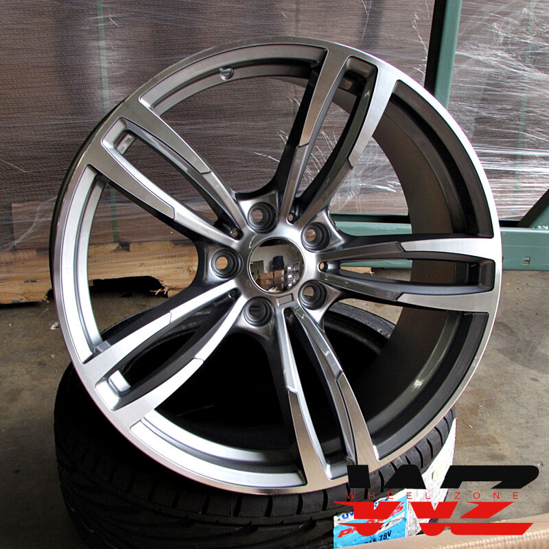 20 Inch 437 Style Wheels Gunmetal Machined Fits BMW 3 4 5