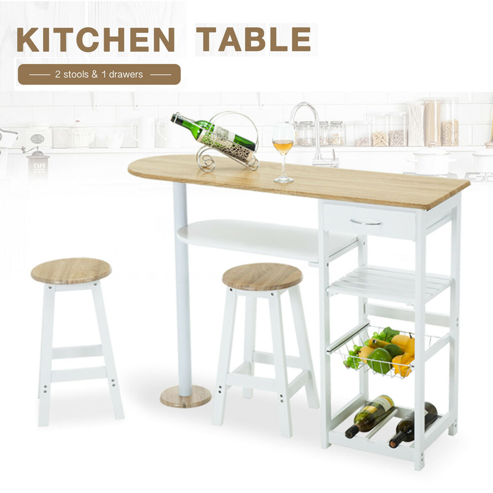 white kitchen island cart trolley dining table storage 2 bar stools