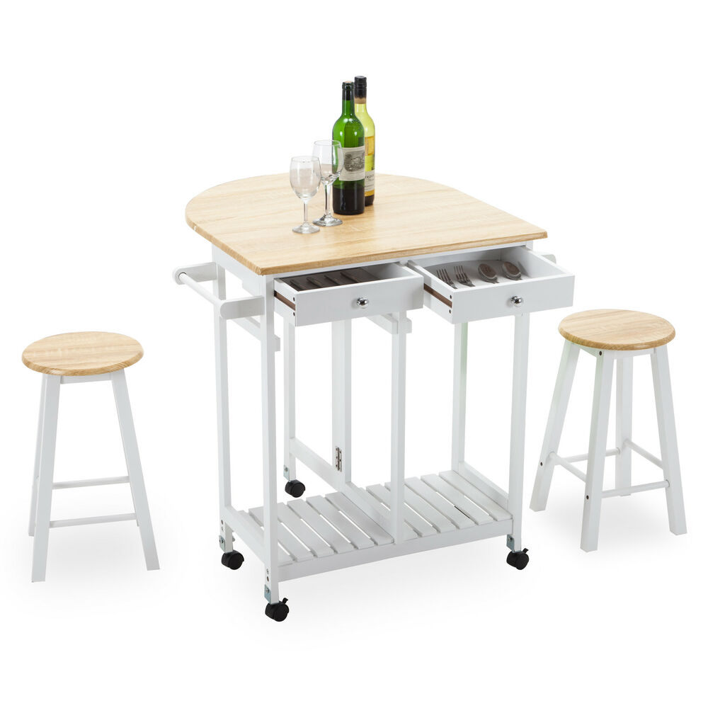 Rolling kitchen island trolley cart storage dinning table - Kitchen island with stools ...