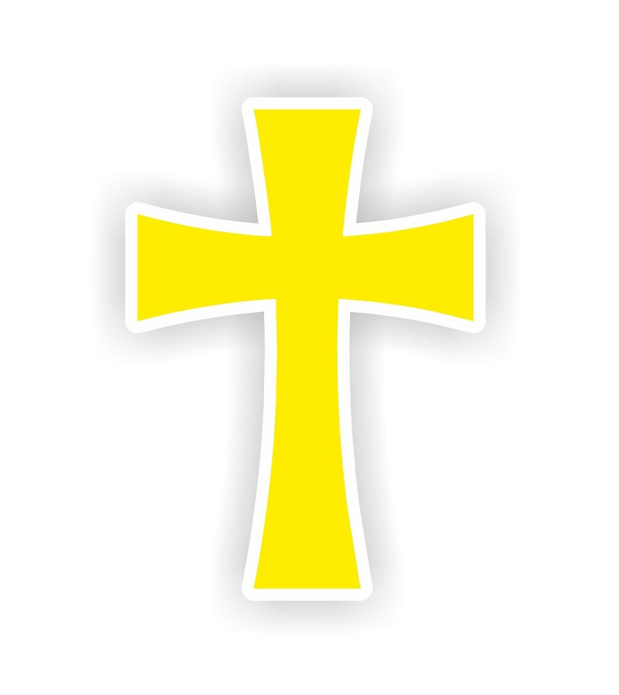 christian symbol cross yellow catholic protestant vinyl