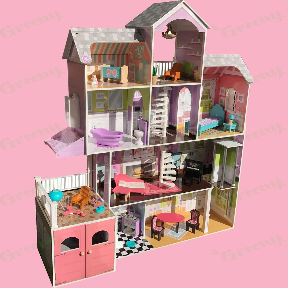Kidkraft Wooden Kids Grand Estate Barbie Dolls House 26 Pieces Of Furniture Ebay