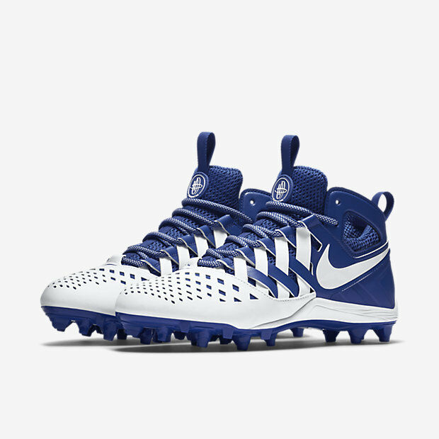 242b35f7a9c58 Details about mens 12 or 13 nike huarache 5 V mid lacrosse cleats LAX royal  white football