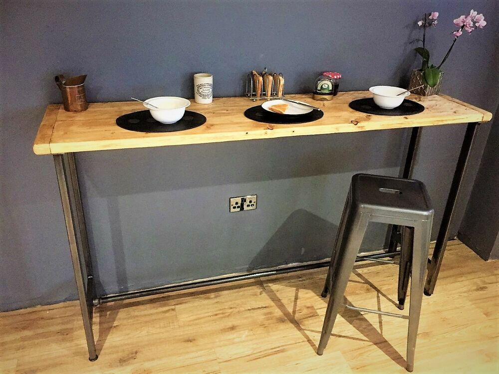 Breakfast bar table bistro table made from solid reclaimed wood made in uk ebay - Kitchen bar table ideas ...