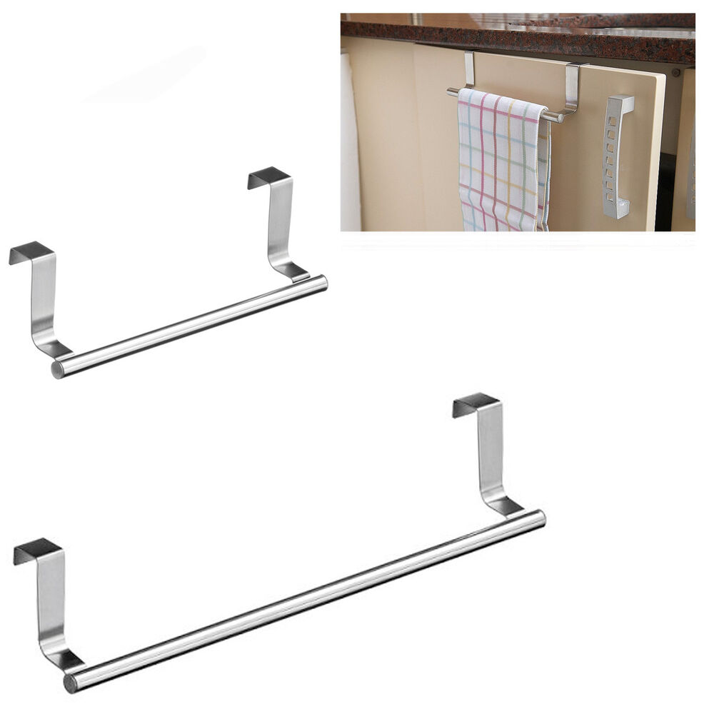 Over The Door Towel Rack Bathroom: Over Door Tea Towel Holder Rack Rail Cupboard Hanger