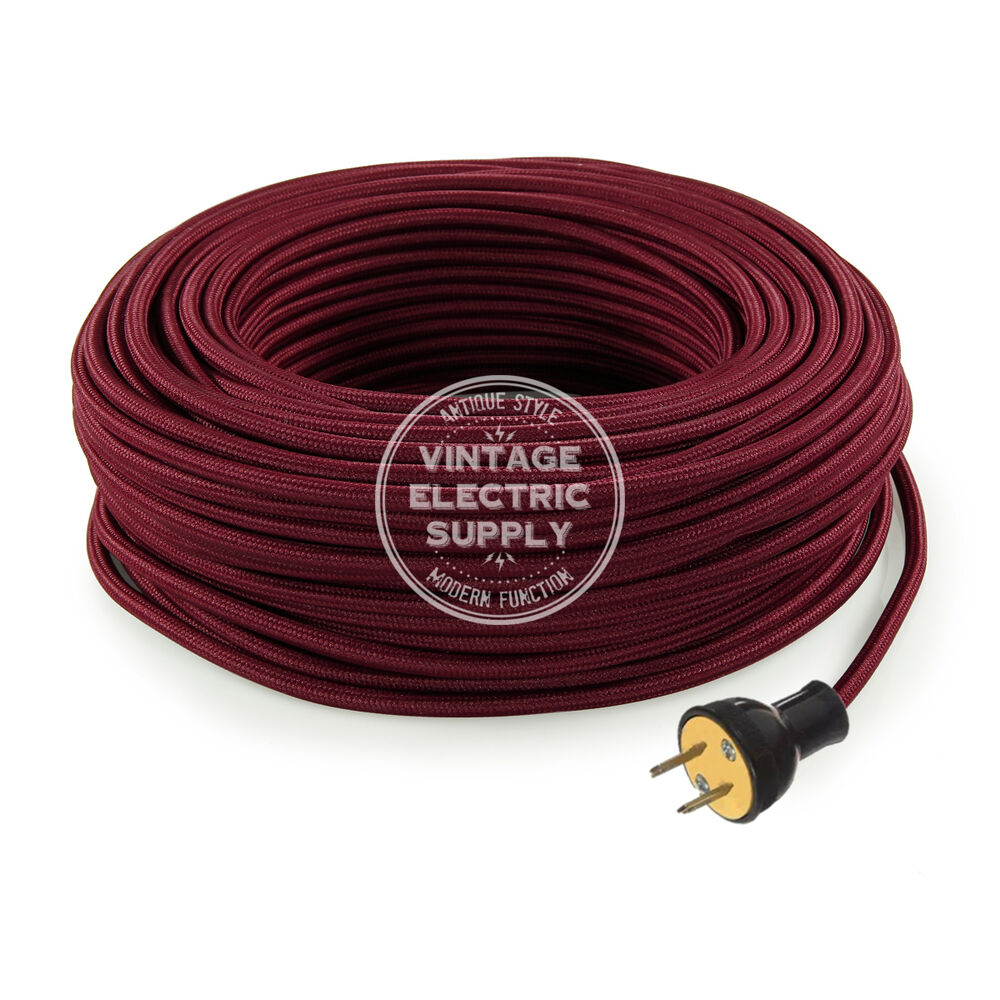 Burgundy Cordset Cloth Covered Round Rewire Set