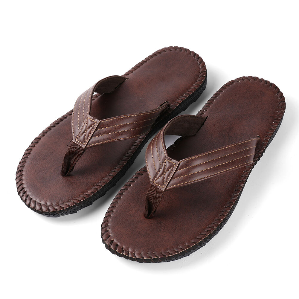 7c7db01dc5793c Details about Brown Anti-slip Leather Men s Thong Flip-Flops Summer Beach  Sandals Shoes 9-10