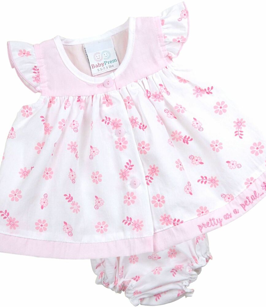 BabyPrem PREMATURE & NEWBORN Baby Girls Dress Set Pink