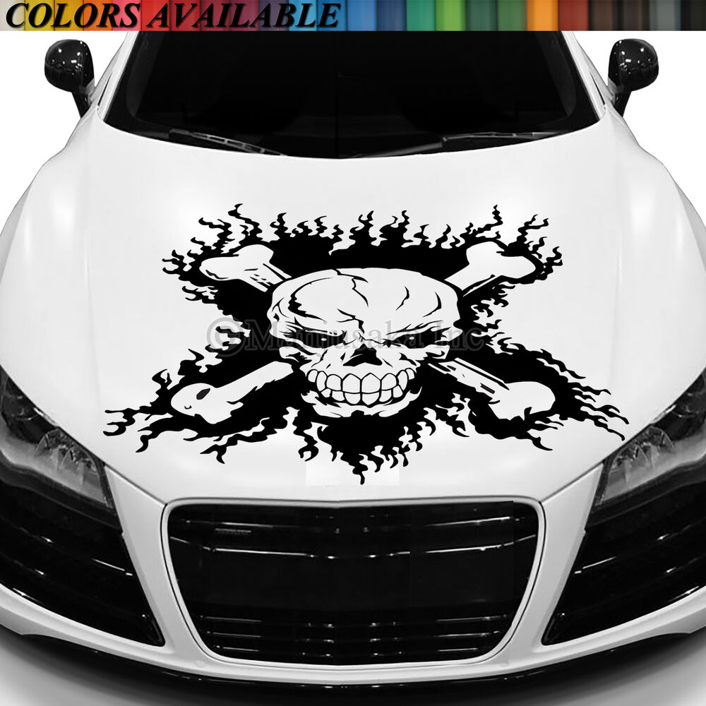 Skull Hood Decal Vinyl Large Graphic Sticker Car Truck